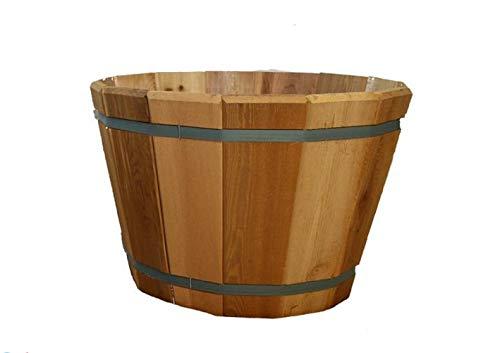 Non Corrosive Planter - Real Wood Products Cedar Barrel Tub Planter, Non-Corrosive Galvenized Banding, Drainage Hole, Made in USA - Choose Diameter (22