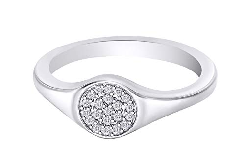 (Samaira Jewelry Pave Natural Diamond Round Disc Small Signet Ring in 14k White Gold Plated 925 Sterling Silver (1/20 Cttw, I-J Color, I2-I3 Clarity) Ring Size-6)