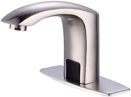Gangang Touch Free Automatic Sensor Tap Sink Hot Cold Mixer Faucet by Automatic Faucet Nickle Brush