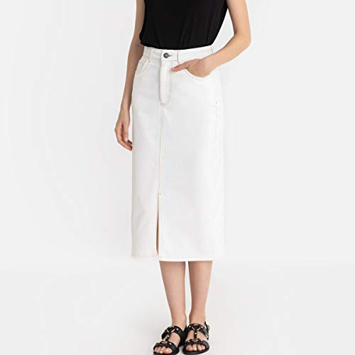 La Redoute Collections Womens Denim Straight Mid-Length Skirt White Size US 4 - La Redoute Skirt
