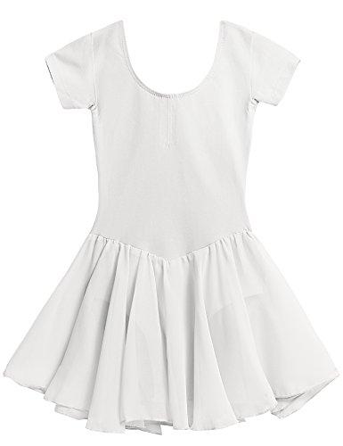 Arshiner Girls' Dance Leotard Ruffle Sleeve (140(Age for 7-8Y), White(FBA))