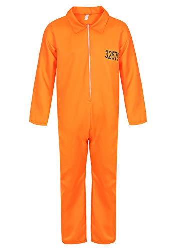 Unisex Cospaly Costume Inmate Orange Jail Prisoner Jumpsuits Coverall Uniform Adult Prison Halloween Costumes Orange-M