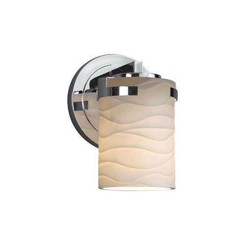 Polished Chrome Justice Design Group Lighting POR-8451-10-WAVE-CROM Limoges Atlas 1-Light Wall Sconce Waves Impressions