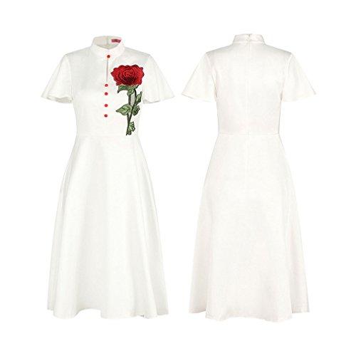... Kleid der Frau Damen Kleider Reine Farbe Kurzarm Zurück Reißverschluss  Kleine Stehkragen Vintage A-Linie ... f11a2bc5a0
