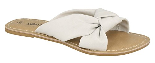 Leather Collection Women's Knot Flat Leather Mule Sandals White ANPUZ9y5K