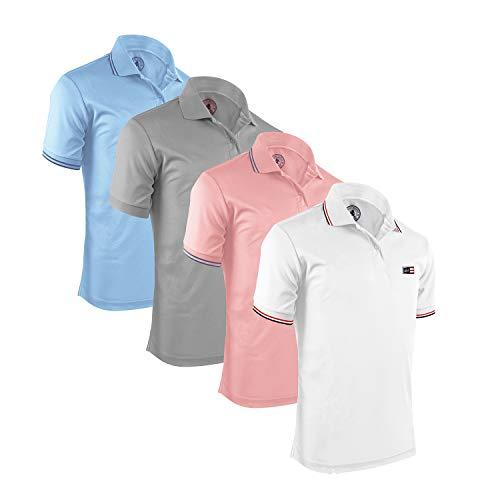 Mens Short Sleeve Polo Shirt - Albert Morris Men Polo Shirt 4 Pack - Tropical Pack, Short Sleeve (Small)