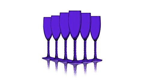 Purple Colored Angelique Flute Glasses - 5.75 oz. set of 6- Additional Vibrant Colors Available -