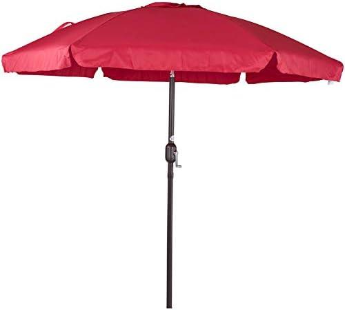 Sundale Outdoor 7.5 Feet Aluminum Beach Drape Umbrella with Crank and Push Button Tilt, 6 Fiberglass Ribs Red