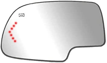 Heated Non-Dimming Mirror Glass w//Backing Plate and LED Arrow Turn Signal Light Fits System 44058 Driver Side