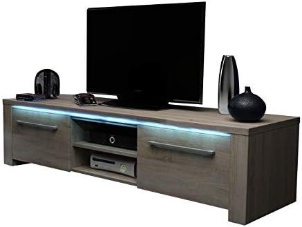 messa – Mueble bajo para TV/Televisión Armario/Mesa de televisión con 2 schränkchen y 2 estantes Abiertos (140 cm, en Roble Sonoma Claro con iluminación LED): Amazon.es: Hogar