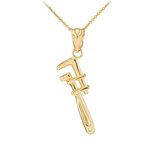 Fine 14k Yellow Gold Monkey Wrench Pendant Necklace, 18
