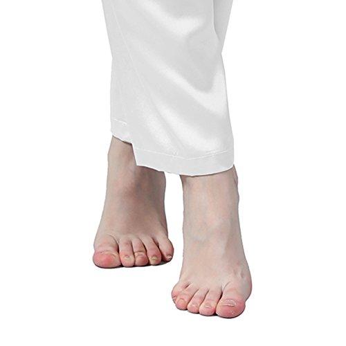 LULUSILK Conjunto de Pijama Largo de Seda 22 Momme con Dos Bolsillos Manga Larga con Pantalones Blanco