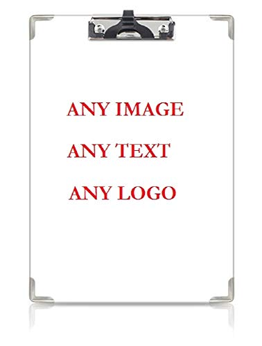 "Personalized Custom Photo Plastic Clipboard Hardboard Paperboard with Pen Slot for Home Office Business Professionals 12 1/2"" x 9"". Any Image/Text/Logo."