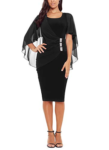 - XMYXTX Women Plus Size Chiffon Cap Sleeve Pencil Dress Bodycon Party Dress Knee Dress with Length Waist Ruched Back with Slit and Zip Black L