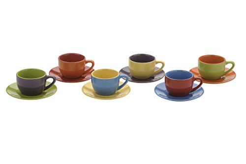 Set of 6 Espresso Cups & Saucers Assorted Colours