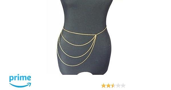 Amazon.com  Wiipu Simple Gold Waist Chain Body Chain Body Jewelry Belly  Slave Crossover Punk(D79)  Jewelry e5b3f6b95861
