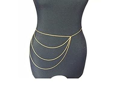 Image Unavailable. Image not available for. Color  Wiipu Simple Gold Waist  Chain Body Chain Body Jewelry Belly Slave Crossover ... b3186318a179