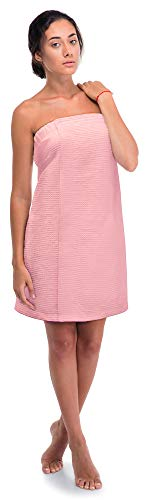 Turkish Linen Women's Waffle Spa Body Wrap with Adjustable Closure (One Size, Pink)
