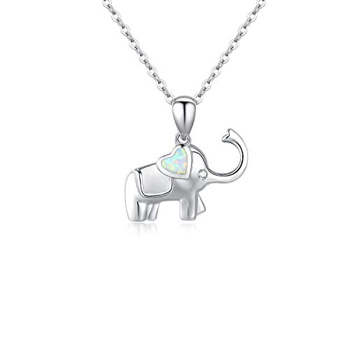 Lucky Opal Necklace - JUSTIKIDSTOY Sterling Silver Dainty Lucky Elephant Pendant Necklace Cute Heart Opal Good Luck Jewelry Gifts for Women Lady Female (Elephant Necklace)