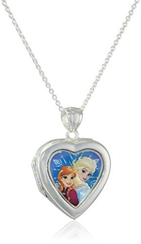 Disney Girls' Plated Frozen Elsa and Anna Heart Locket Necklace (Disney Locket)