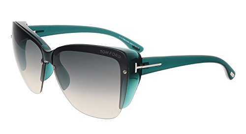 Tom Ford FT0457 87B POPPY Clear Teal Square - Tom Ford Celebrity Sunglasses