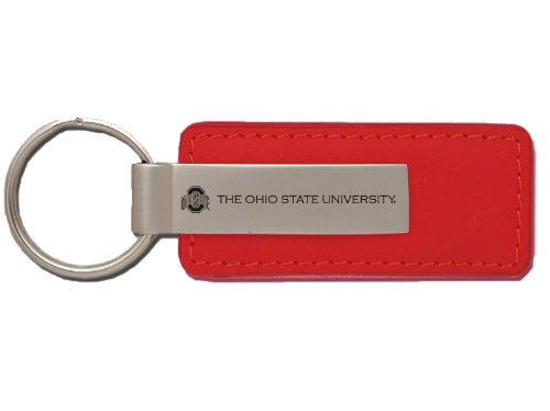 Red Buckeyes Keychain (Ohio State University - Leather and Metal Keychain - Red)