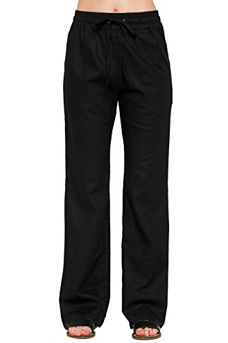 Residents On Women's Comfy Drawstring Linen Pants Long with Band Waist(S-3XL)