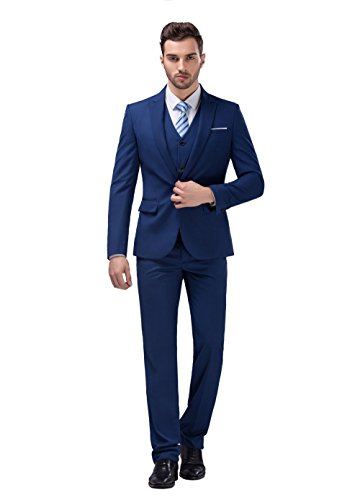 POSHAWN Men's Slim Fit Peak Lapel Three Piece Suit Set - Express Men For Suit