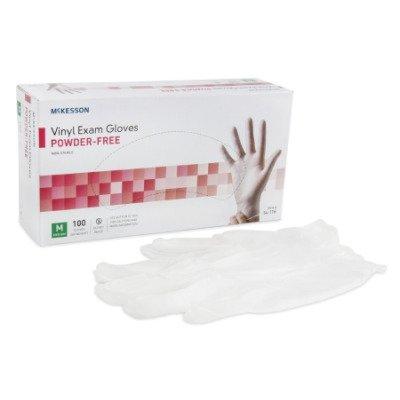 Medi-Pak Non-Sterile Powder-Free Vinyl Exam Gloves, Smooth Ivory Ambidextrous Medium Mckesson 354436