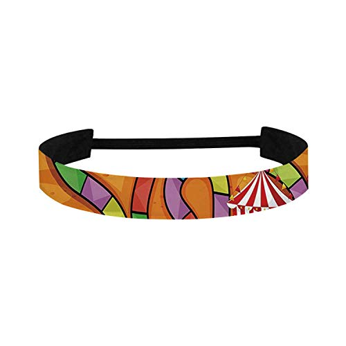 C COABALLA Board Game Simple Sports Headband,Carnival in Town Circus Characters Tents Ferris Wheel Ride Route Curves Forest for Sports,15