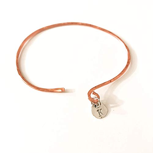 (Initial K Hammered Copper and Sterling Silver Charm Cuff Bracelet)
