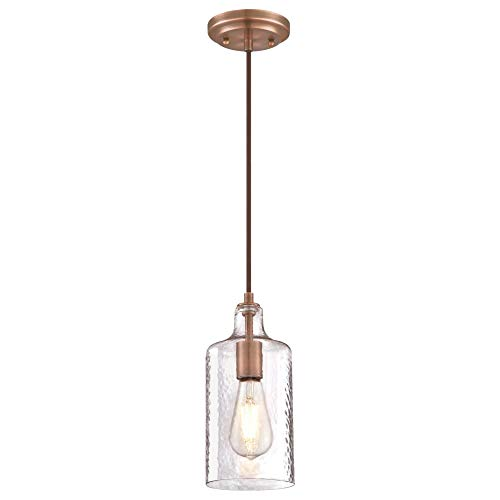 Westinghouse Lighting 6371500 One-Light Indoor Mini Pendant Light, Washed Copper Finish with Clear Textured Glass