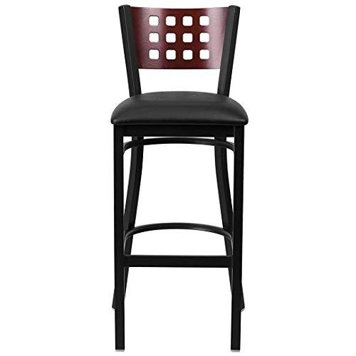Modern Style Metal Dining Bar Stools Pub Lounge Restaurant Commercial Seats Mahogany Wood Cutout Back Design Black Powder Coated Frame Finish Home Office Furniture - Set of 2 Black Vinyl Seat #2207 by KLS14 (Image #4)