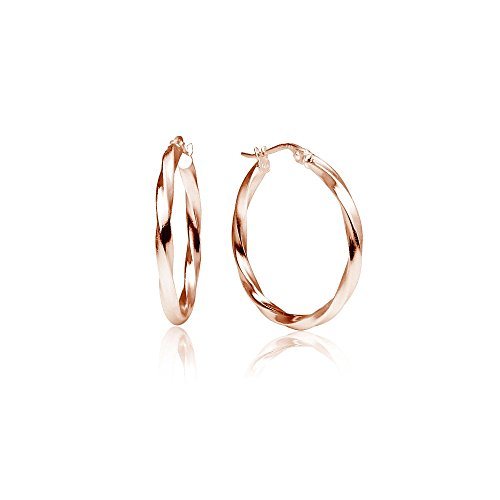 LOVVE Rose Gold Flashed Sterling Silver High Polished Twist Round Click-Top Hoop Earrings, 2x30mm (Metal Polished High Two)