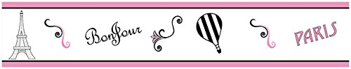 Pink, Black and White Stripe Paris French Eifell Tower Kids and Baby Modern Wall Paper Border