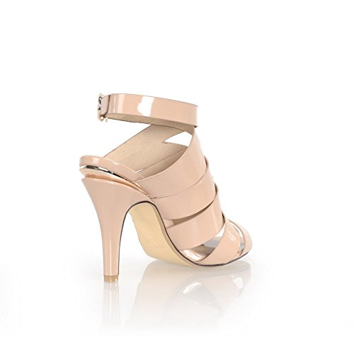 VogueZone009 Womens Open Peep Toe High Heel Stiletto PU Patent Leather Solid Sandals, Nude, 2.5 UK