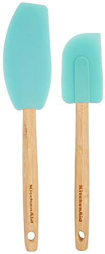 KitchenAid Bamboo Handle Mixer & Scraper Spatula Set, Aqua Sky