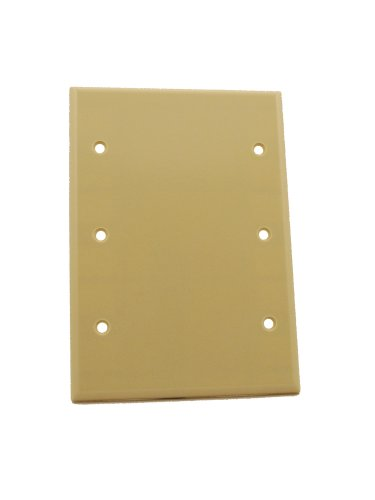 Leviton 86033 3-Gang No Device Blank Wallplate, Standard Size, Thermoset, Box Mount, - Blank Gang Leviton 3
