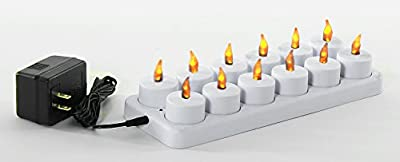 ProSource Rechargeable Tea Light Tealight Candles (No Batteries Necessary) - With Frosted Holder Votives