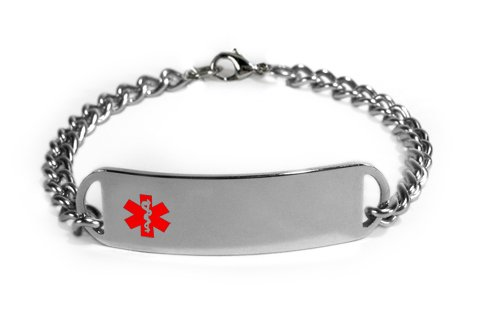 HEART ATTACK Medical ID Alert Bracelet with Embossed emblem from stainless steel. D-Style, premium (Red Heart Attack Emblem)