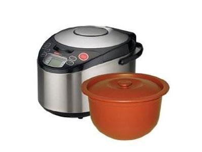 VitaClay VF7900-3 Chef Gourmet 6-Cup Rice and Slow Cooker Pro, Brushed Stainless
