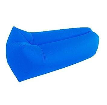 Tumbona inflable, sofá, saco de dormir, colchón de aire: perfecto para camping, vacaciones, playa, piscinas, azul marino: Amazon.es: Deportes y aire libre