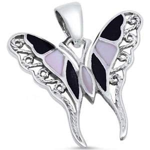 - Pearl & Black Onyx Filigree Butterfly 925 Sterling Silver Pendant - Jewelry Accessories Key Chain Bracelet Necklace Pendants