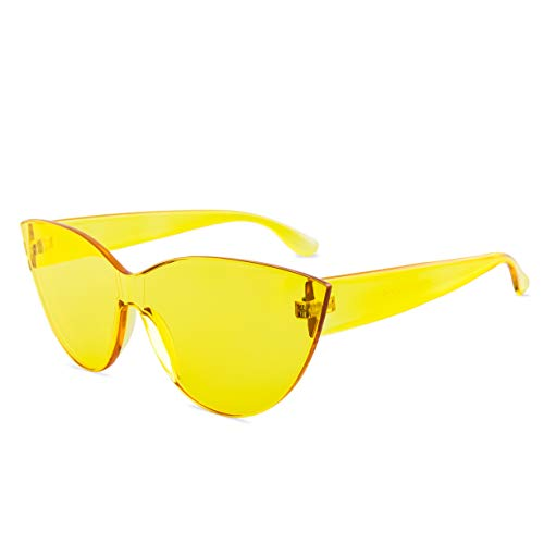 (Colorful One Piece Rimless Transparent Cat Eye Sunglasses for Women Tinted Candy Colored Glasses (#H3099-Yellow) )