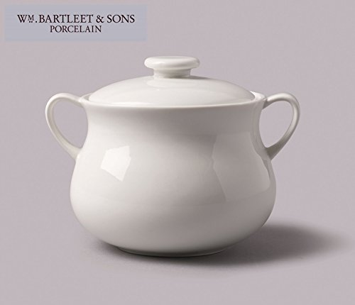 WM Bartleet & Sons 1750 T411 Traditional Porcelain Lidded Individual French Onion Soup and Stew Bowl with Handles 500ml - White (Handle Porcelain Traditional)