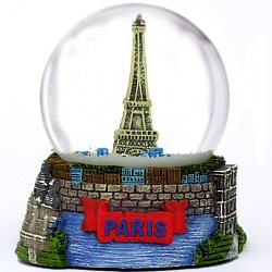 Paris Snow Globe, Eiffel Tower Snow Globe Souvenir (3.5 Inches Tall), 65mm Glass Globes