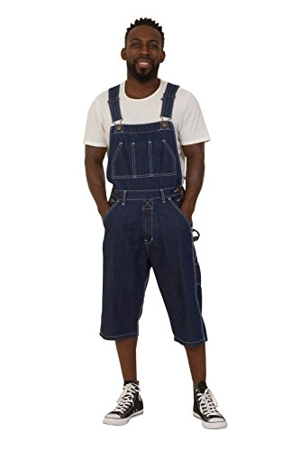 Indigo Denim Bib Overall (USKEES BLAKE Indigo Denim Bib Overall Shorts Mens Dungaree Shorts Relaxed Fit)