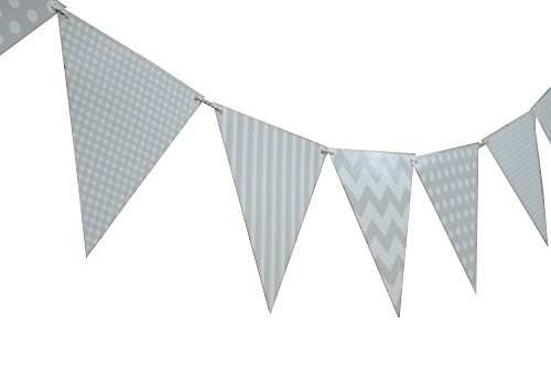 Quasimoon Gray / Grey Mix Pattern Triangle Flag Pennant Banner Decoration (11FT) by PaperLanternStore