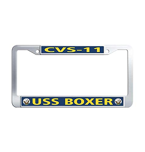 Toanovelty Navy USS Boxer CVS-11 Metal Auto License Plate Frame, Waterproof Stainless Steel Auto License Tag Holder 6' x 12' in]()