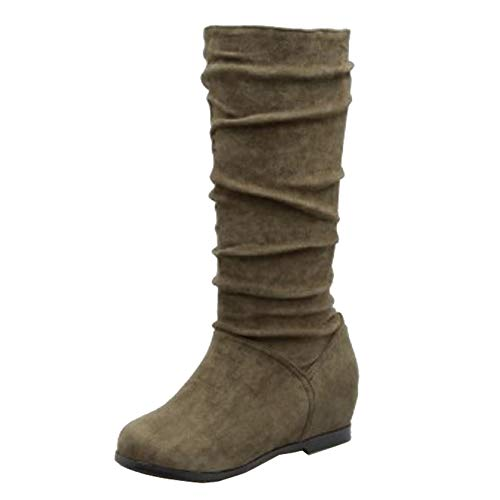 CuteFlats Women Knee-High Wedge Boots Green
